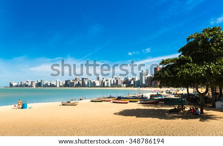 VITORIA, BRAZIL - CIRCA JULY 2015: People enjoying a hot day at Costa Beach in Espirito Santo, Brazil