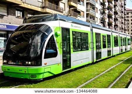 VITORIA-GASTEIZ, SPAIN - APRIL 2: The tram of Vitoria was inaugurated in 2008 by Patxi Lazkoz that he is the Mayor of Vitoria. April 2, 2013 in Vitoria Gasteiz, Basque Country, Spain