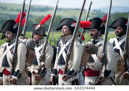 VITORIA, SPAIN - JUNE 22: Re-enactment of the battle of Vitoria between British, Portuguese and Spanish army under General Wellington and the French army in 1813 on JUNE 22, 2013 in Vitoria, Spain. - stock photo