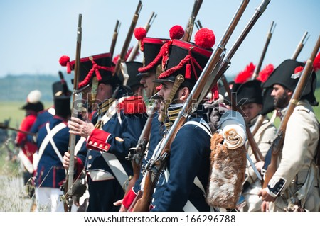 VITORIA, SPAIN - JUNE 22: Re-enactment of the battle of Vitoria between British, Portuguese and Spanish army under General Wellington and the French army in 1813 on JUNE 22, 2013 in Vitoria, Spain.