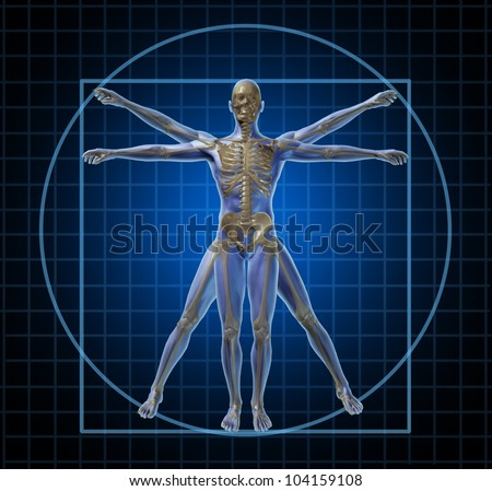 Vitruvian human skeleton man and body with as a frontal Leonardo Da Vinci like anatomy pose for health care and medicine icon on a black background. - stock photo