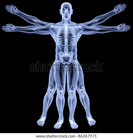 vitruvian man under X-rays. isolated on black. - stock photo