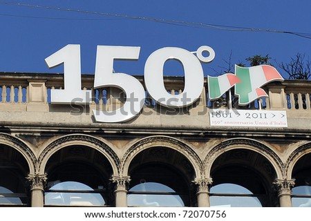 Vittorio Emanuele gallery taught for 150 years of unity of Italy in Milan, Italy