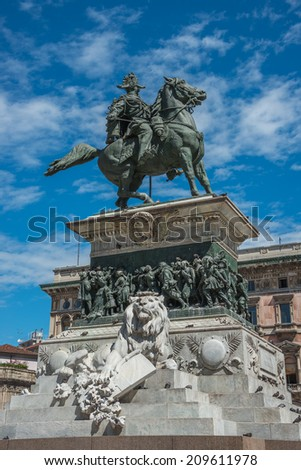 Vittorio Emanuele monument in the center of Milan, Italy, summer, 2014 - stock photo