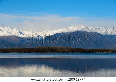 Viverone lake and the Alps in Piedmont - Italy