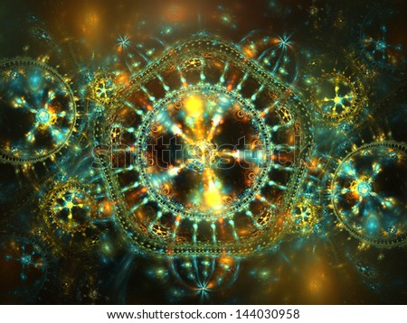 Vivid blue and yellow fractal design