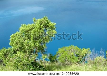 Vivid blue lake in Mount Garbier in Australia - stock photo