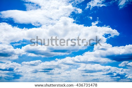 Vivid color of blue sky with clouds soft blur for background. - stock photo