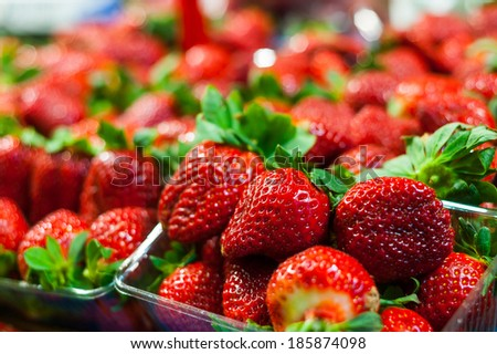 Vivid colorful red strawberries on the fruit market - stock photo