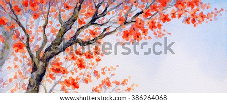Vivid colorful watercolour on paper backdrop in asian Japan sketch style with space for text on white sky. Lush pink coral orange inflorescence on old sprout of seedling in flowery orchard yard - stock photo