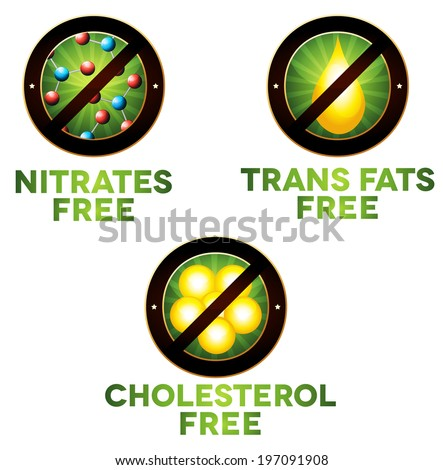 Vivid diet icon set, food intolerance such as Nitrates free, trans fats free and cholesterol free. Isolated on white background. - stock photo