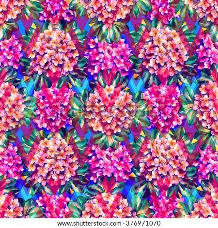 Vivid floral seamless pattern on a geometric background. Colorful flower bouquets like victorian stylish on a pink rhombus background. Watercolor painting artistic collage. - stock photo