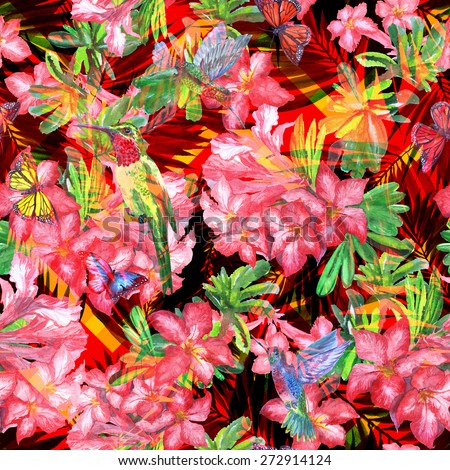 Vivid floral seamless pattern red color on a red foliage background. Colorful floral geometric ornament zigzag. Zig Zag pattern floral abstract ornament - stock photo