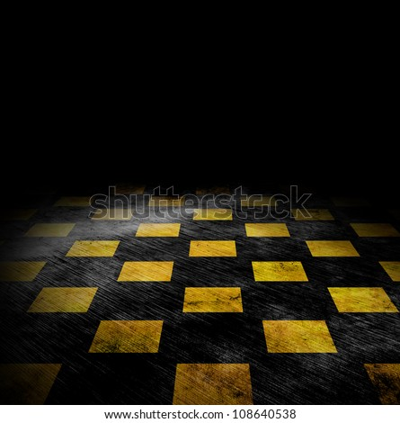 vivid grunge chessboard background with stains - stock photo