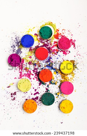 Vivid Indian Holi festival colours - overhead view - stock photo