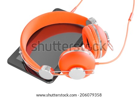 Vivid orange headphones and black tablet pc for mobile vocational training isolated on white - stock photo