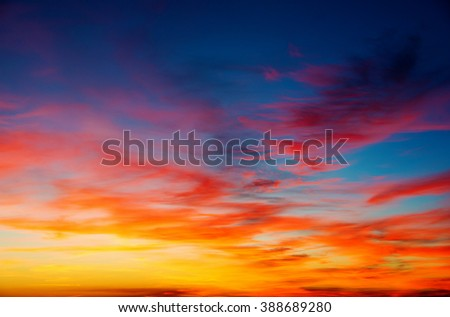 Vivid sky illuminated by the sunset