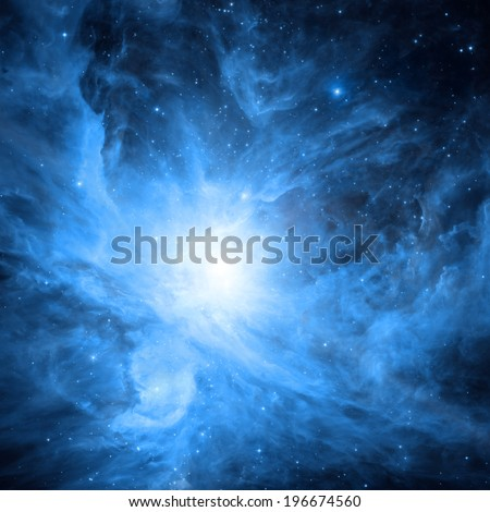 Vivid space nebula - supernova remnant. Elements of this image furnished by NASA. - stock photo