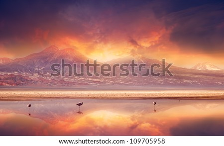 Vivid sunset over the Andes Mountains and Atacama Desert, Chile. - stock photo