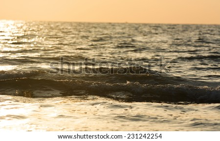 Vivid sunset over the ocean outside Panay island in the Philippines - stock photo