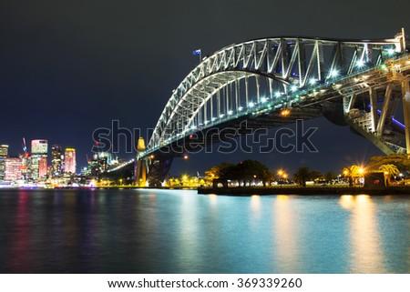 Vivid Sydney - Harbour Bridge - stock photo