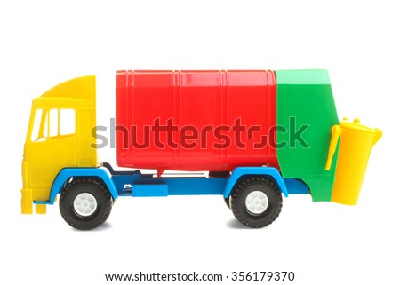 Vivid toy garbage truck from plastic isolated on white background - stock photo