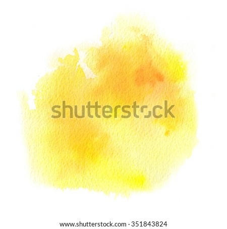 Vivid yellow watercolor spot or ink stain with aquarelle paint blotch - stock photo