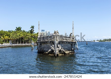 Vizcaya, Floridas grandest residence, once belongs to millionaire industrialist James Deering, is in downtown Miami, Florida, USA. - stock photo