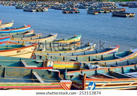 VIZHINJAM, INDIA   FEBRUARY 1, 2015:  Vizhinjam village is about 3 kilo meters away from Kovalam and it boasts a fishing industry. - stock photo