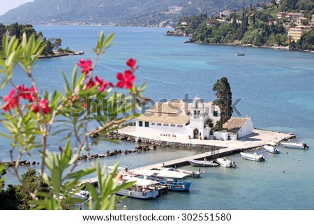 Vlacherna monastery Corfu island Greece - stock photo