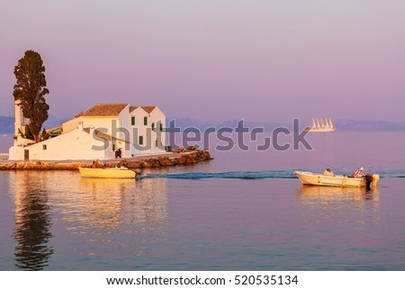 Vlacherna orthodox monastery and Pontikonisi island near Kanoni, Corfu, Greece