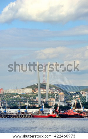 Vladivostok city in summertime, golden horn bay, golden bridge