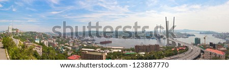 Vladivostok cityscape daylight view from east to west, panorama.