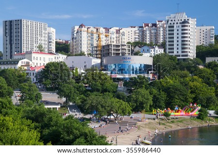 Vladivostok, Russia - circa August 2015: Panorama of Seawalk (Naberezhnaya) in the center of Vladivostok, Russia