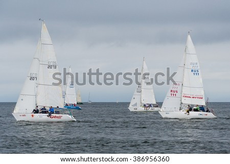 Vladivostok, Russia - circa August 2012: Regatta for Peter the Great Gulf Cup - sailed boat race in Vladivostok, Russia