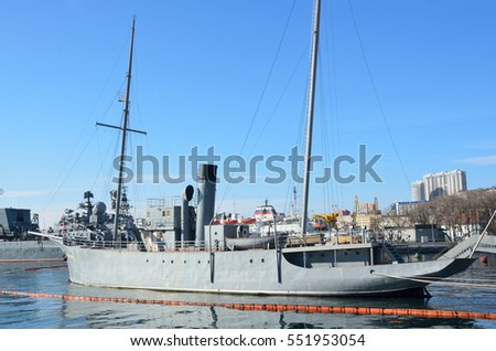 "Vladivostok, Russia, December, 16, 2016.  Nobody, ""Red pennant"", Museum ship moored in Vladivostok in winter"