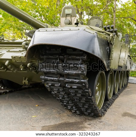Vladivostok, Russia - October 2, 2015: Tank closeup view. Modern russian armored vehicles during the preparation for the exhibition.