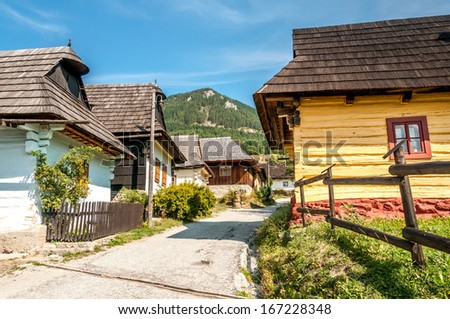 VLKOLINEC, SLOVAKIA - AUGUST 31,2013 - In the street wooden settlement Vlkolinec.It is one of ten Slovak villages that have been given the status of a folk architecture reservations.