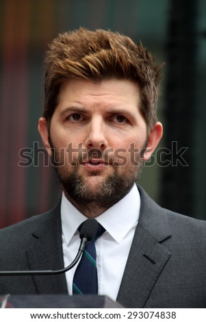 vLOS ANGELES - JUL 1:  Adam Scott at the Paul Rudd Hollywood Walk of Fame Star Ceremony at the El Capitan Theater Sidewalk on July 1, 2015 in Los Angeles, CA - stock photo