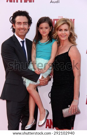 "vLOS ANGELES - JUN 29:  John Fortson, Abby Ryder Fortson, Christie Lynn Smith at the ""Ant-Man"" Los Angeles Premiere at the Dolby Theater on June 29, 2015 in Los Angeles, CA - stock photo"