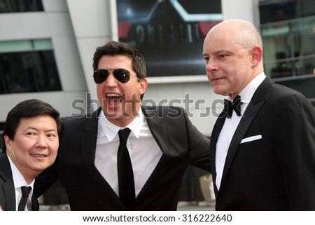 vLOS ANGELES - SEP 12:  Ken Jeong, Ken Marino, Rob Corddry at the Primetime Creative Emmy Awards Arrivals at the Microsoft Theater on September 12, 2015 in Los Angeles, CA - stock photo