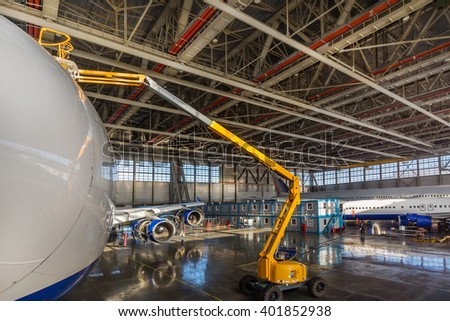 VNUKOVO AIRPORT - 18 February 2015 : Boeing 747 being checked in hangar