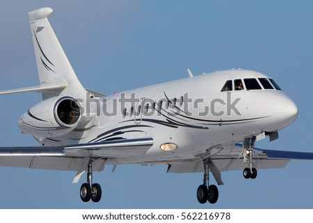 VNUKOVO, MOSCOW REGION, RUSSIA - MARCH 28, 2013: Dassault Falcon 2000 OH-FIX operated by Airfix Aiation landing at Vnukovo international airport.