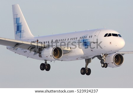 VNUKOVO, MOSCOW REGION, RUSSIA - NOVEMBER 20, 2016: Private Airbus A319-115(CJ) D-ALXX K5-Aviation landing at Vnukovo international airport.