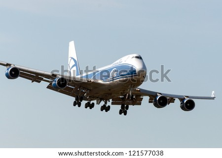 VNUKOVO, RUSSIA - SEPTEMBER 21: Aircraft operated by AirBridgeCargo, landing in Moscow airport in Vnukovo on September 21, 2012. The company AirBridgeCargo in its fleet has 10 aircraft Boeing-747