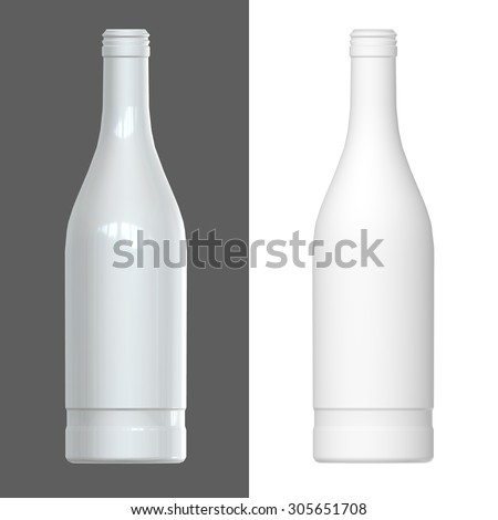 Vodka bottle template. 3D render. - stock photo
