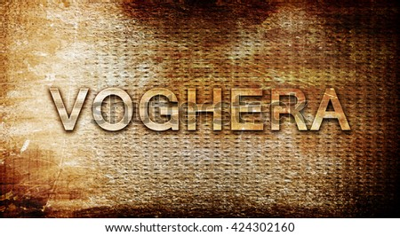 Voghera, 3D rendering, text on a metal background