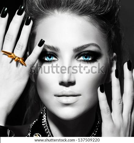 Vogue Style Fashion Model Portrait. Black and White Stylish Girl Portrait - stock photo