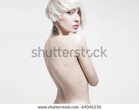 Vogue style photo of a naked woman - stock photo