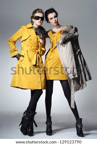 Vogue style photo of a two fashion posing on light background - stock photo